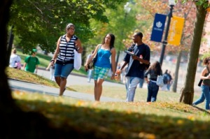 Students walking together around campus