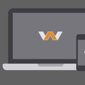 Graphic of a laptop computer and a handheld device featuring a W logo.