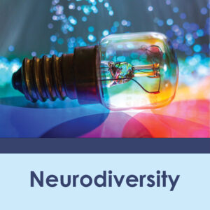 Neurodiversity. Image shows a light bulb with a spectrum of colors surrounding it.