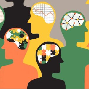 Image representing neurodiversity. Profiles of four individuals, with illustration of various thinking styles.