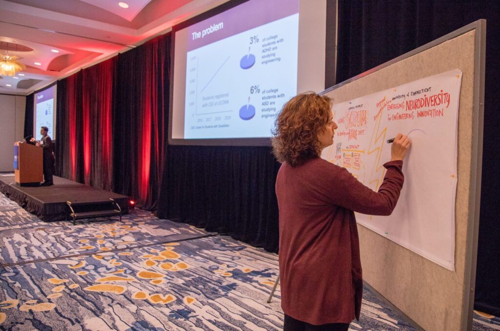 Artist Julia Reich provides visual note-taking during a talk by Dr. Arash Zaghi.