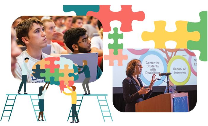 Photo of Dr. Maria Chrysochoou, wearing a dark suit, standing at a podium. Students listening in a course. Graphics of people putting together a puzzle.